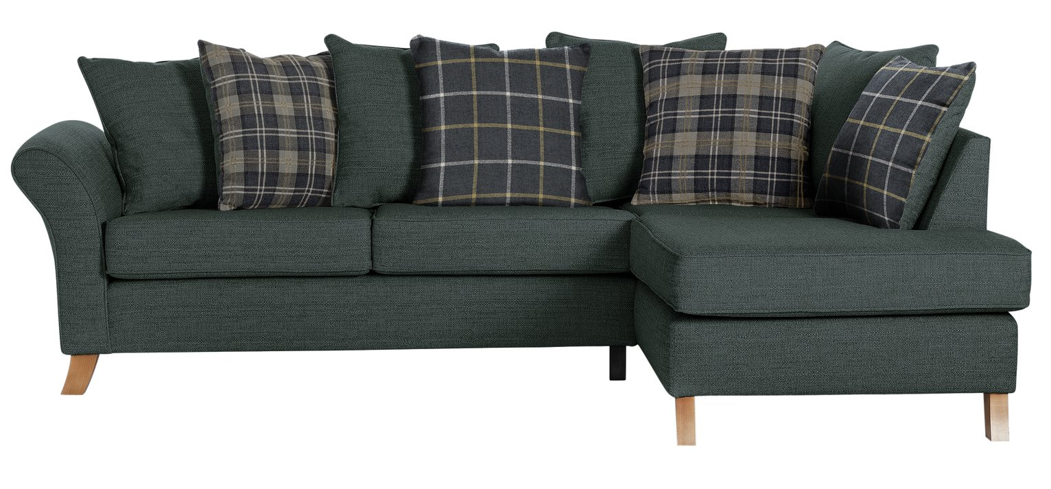 Argos Home Kayla Right Corner Scatter Back Sofa - Charcoal