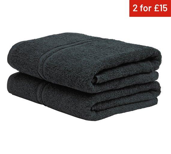 colourmatch pair of bath towels jet black