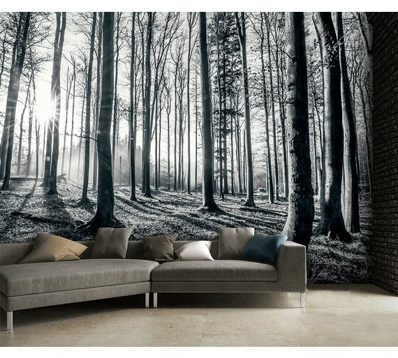 Image of 1Wall Black and White Forest Wall Mural