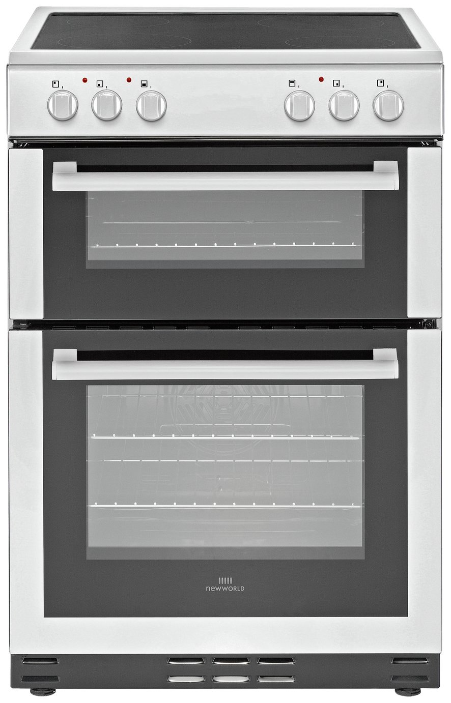 New World 60EDOC 60cm Double Oven Electric Cooker - White Best Price, Cheapest Prices