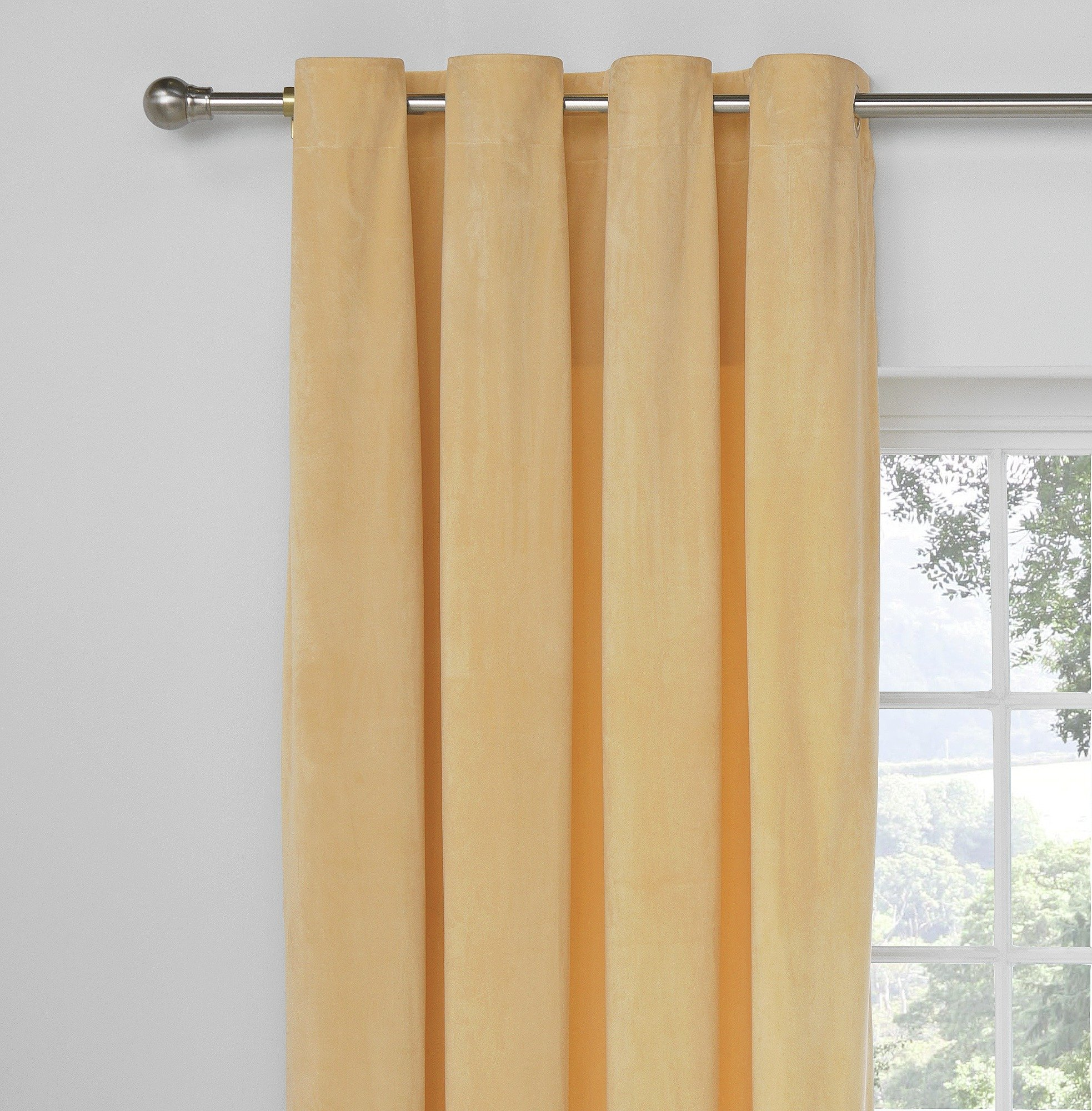 Collection Velour Lined Eyelet Curtains  168x229  Champagne