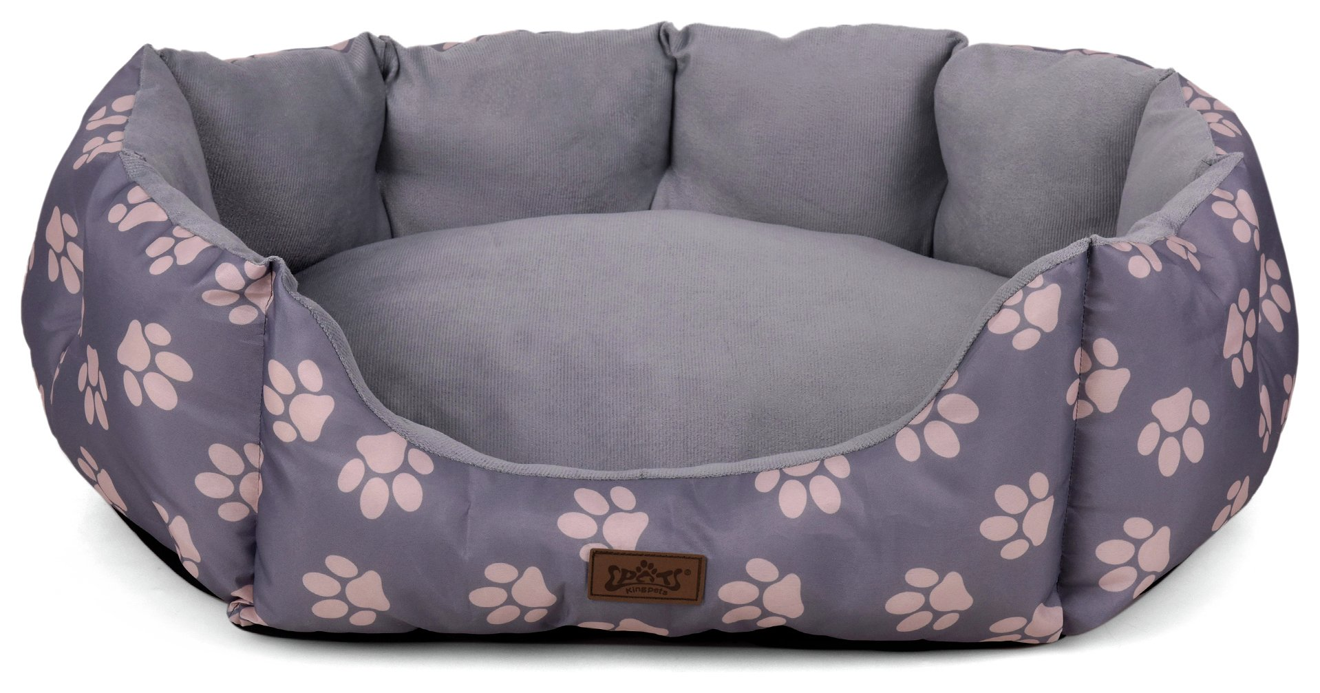 king-pets-value-paw-print-oval-grey-bed-small