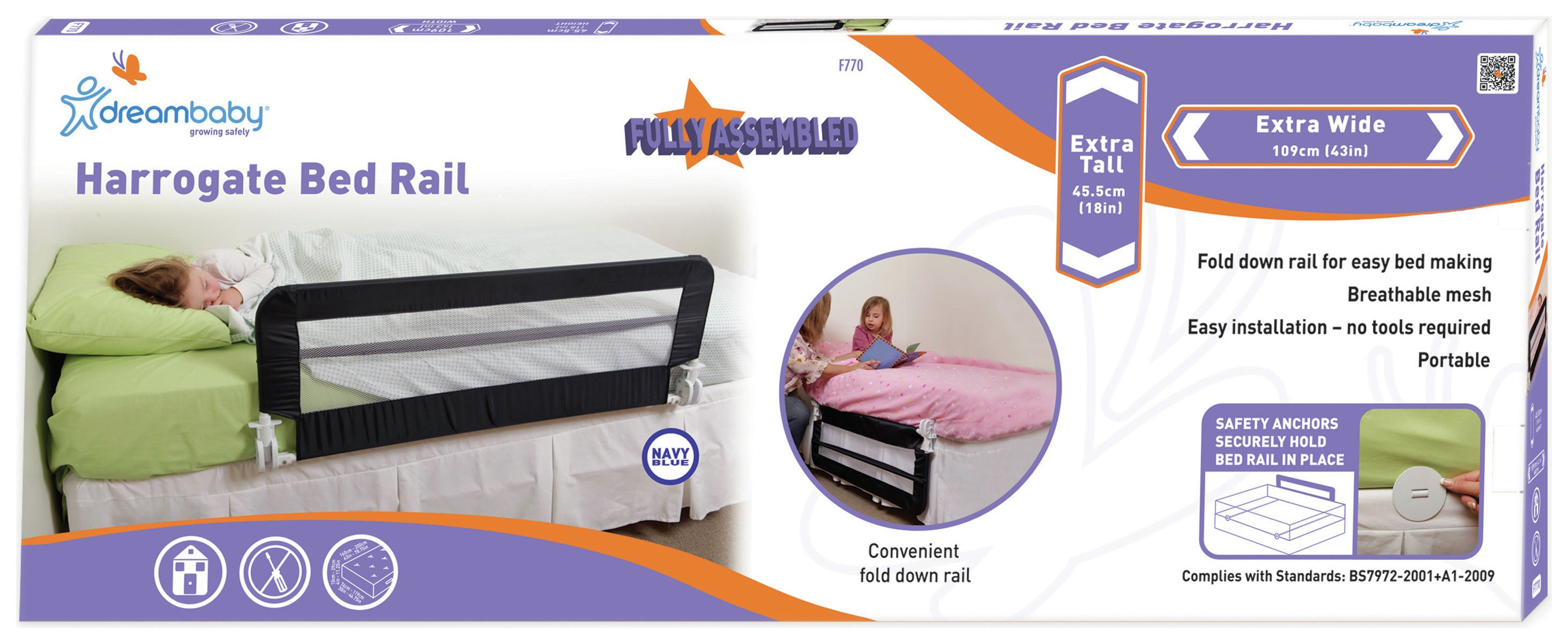 Image of Dreambaby - Extra Wide Bed Rail - Navy