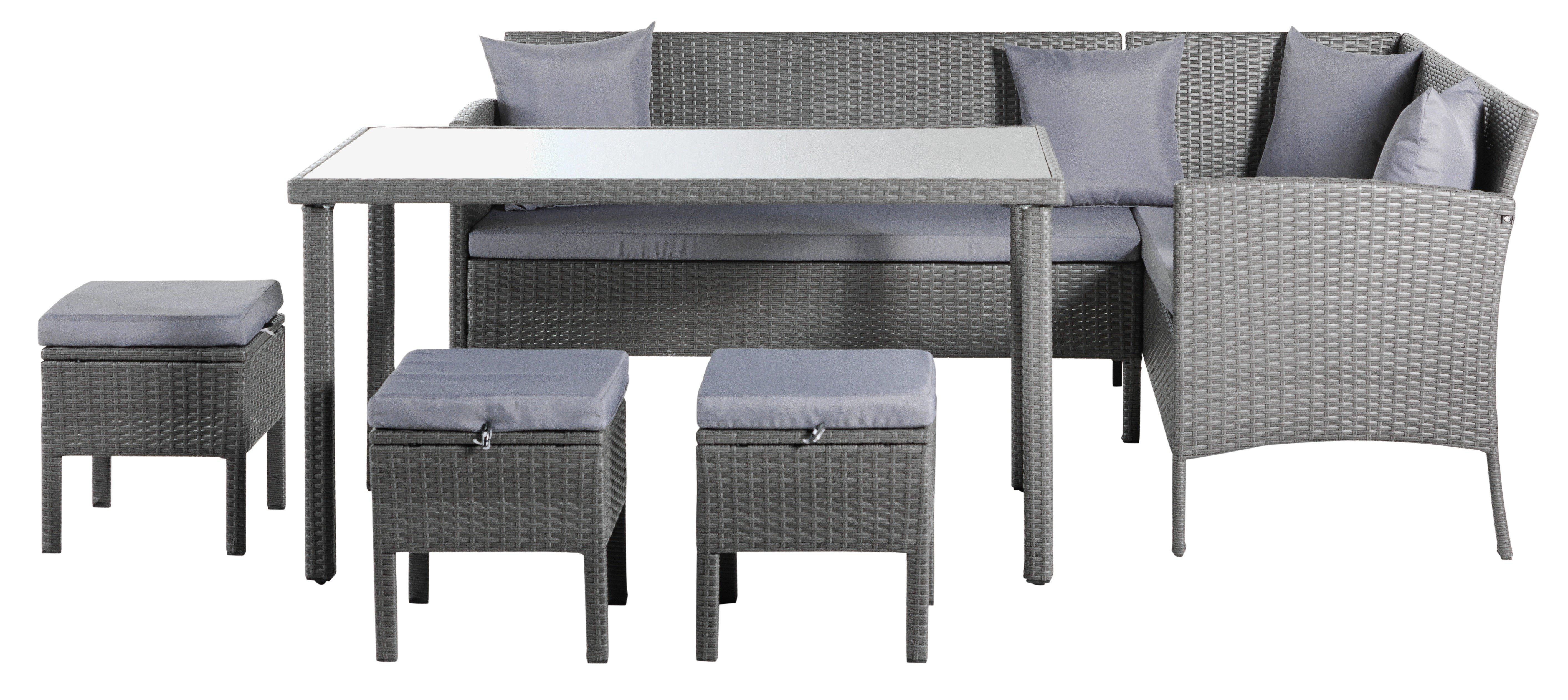 Argos Home 8 Seater Rattan Effect Corner Sofa Set - Grey