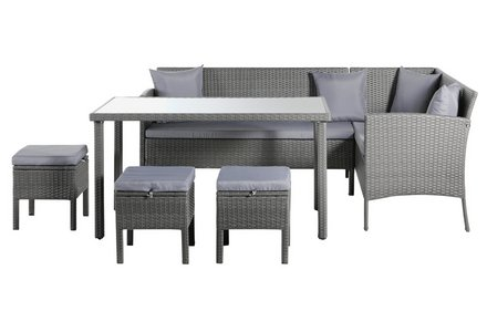 Image of the Home 8 Seater Rattan Effect Corner Dining Set.