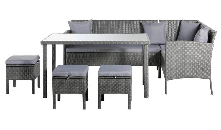 Pleasing Buy Argos Home 8 Seater Rattan Effect Corner Sofa Set Grey Patio Sets Argos Home Interior And Landscaping Synyenasavecom