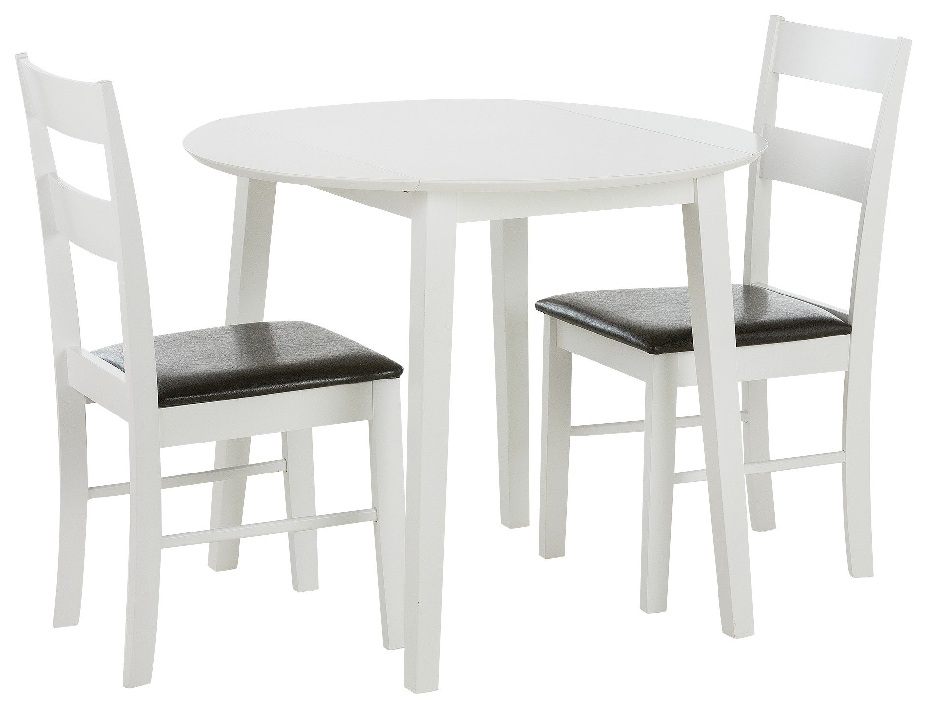 Home Wyton Round Drop Leaf Table Amp 2 Chairs White