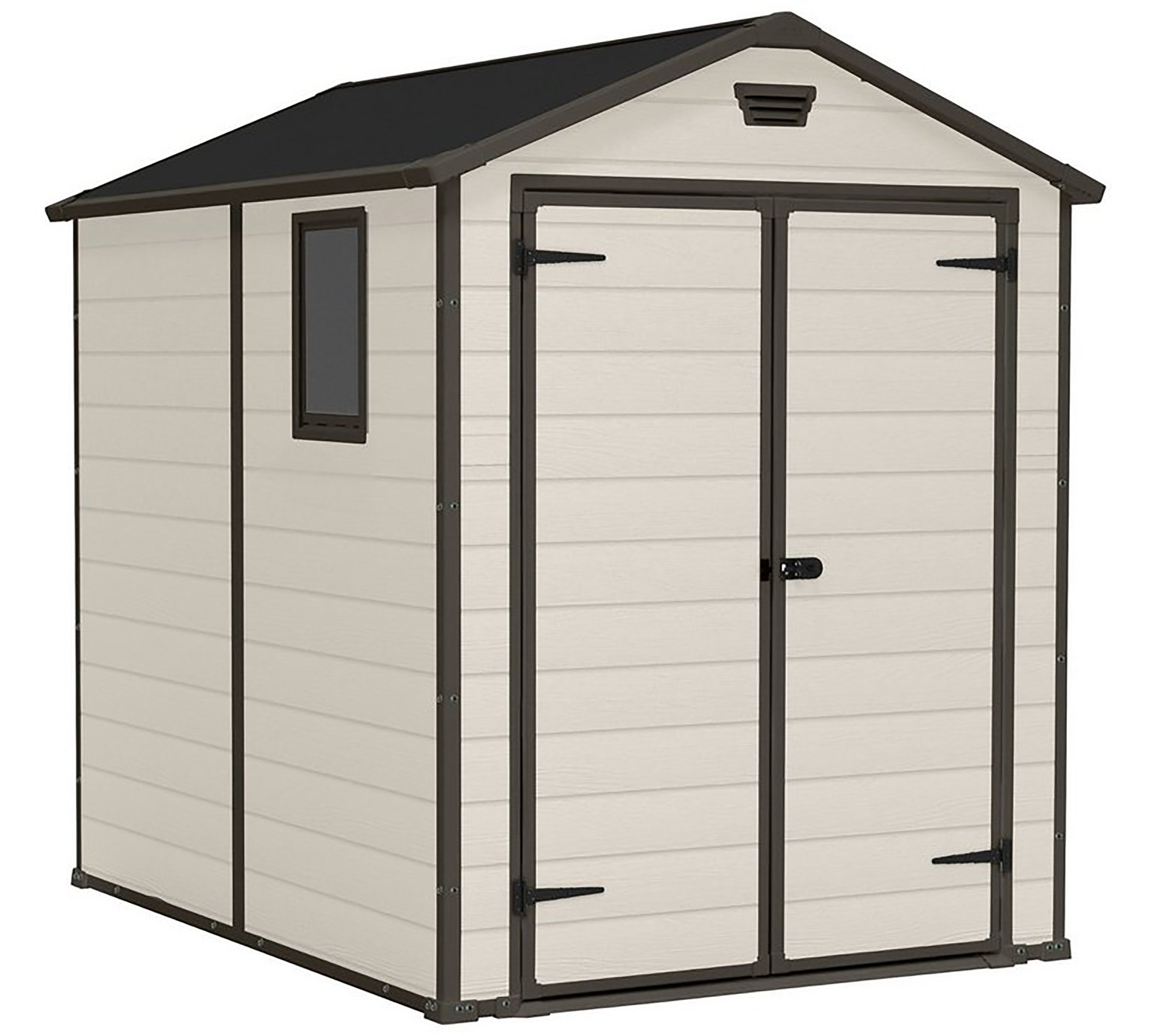Keter Manor Apex Garden Storage Shed 6 x 8ft - Beige/Brown