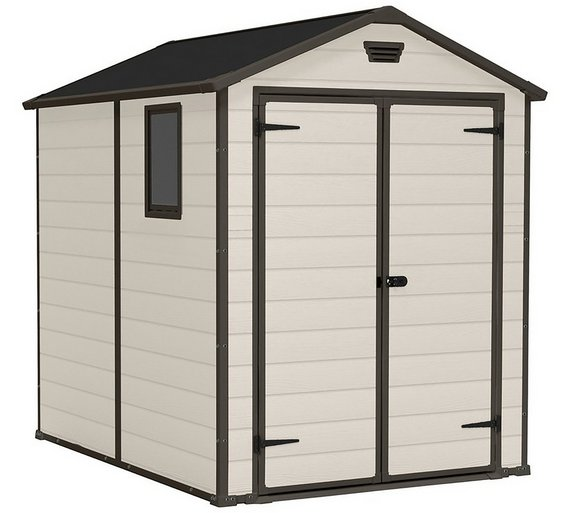 keter manor plastic beige brown garden shed 6 x 8ft