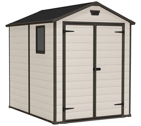 keter manor plastic beige brown garden shed 6 x 8ft