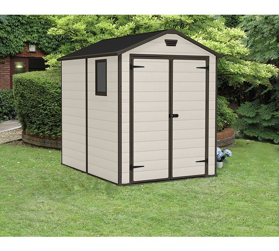 keter manor plastic beige brown garden shed 6 x 8ft - Garden Sheds 6 X 8