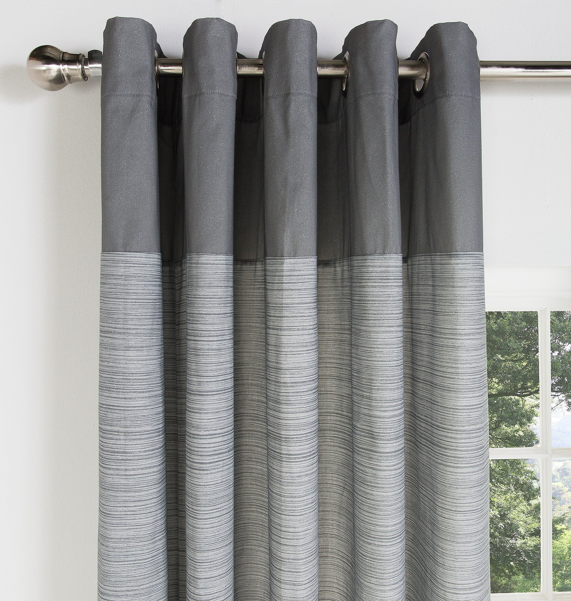 HOME Norfolk Unlined Eyelet Curtains   117x183cm   Charcoal