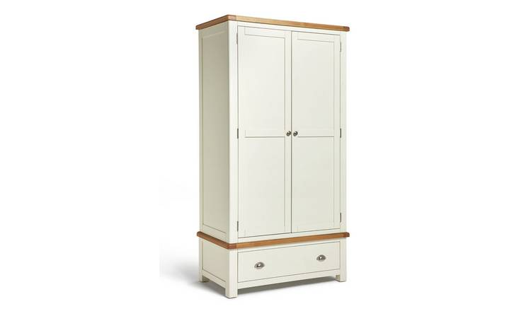 Habitat Kent 2 Door 1 Drawer Wardrobe - Cream & Oak