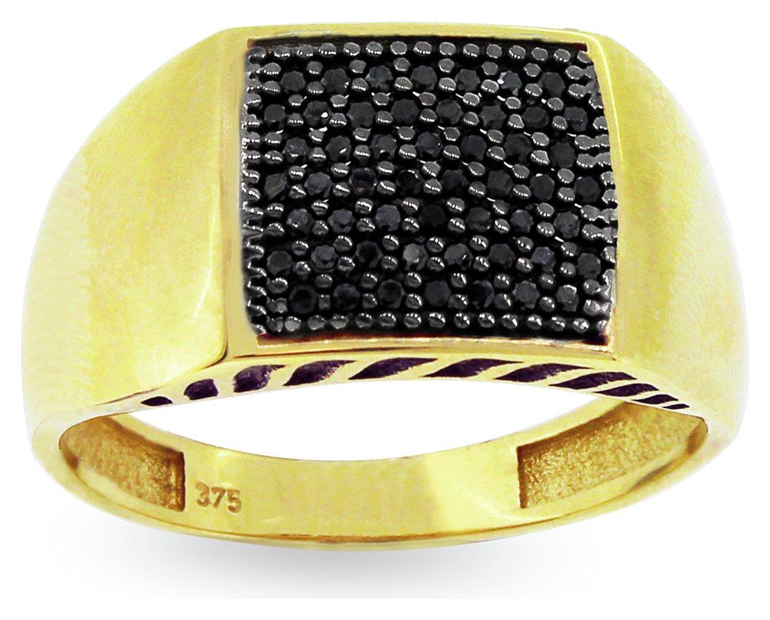9ct Gold Black Cubic Zirconia Ring