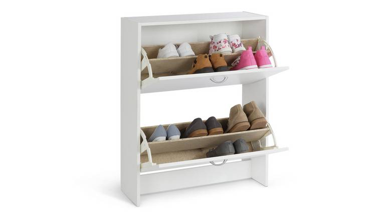 Argos Home 2 Tier Shoe Cabinet - White