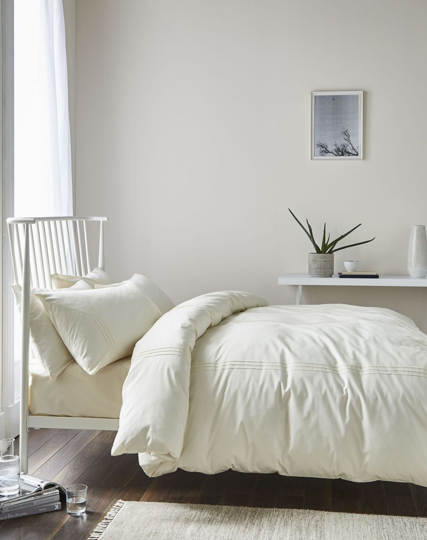 catherine lansfield minimalist cream bedding set  single