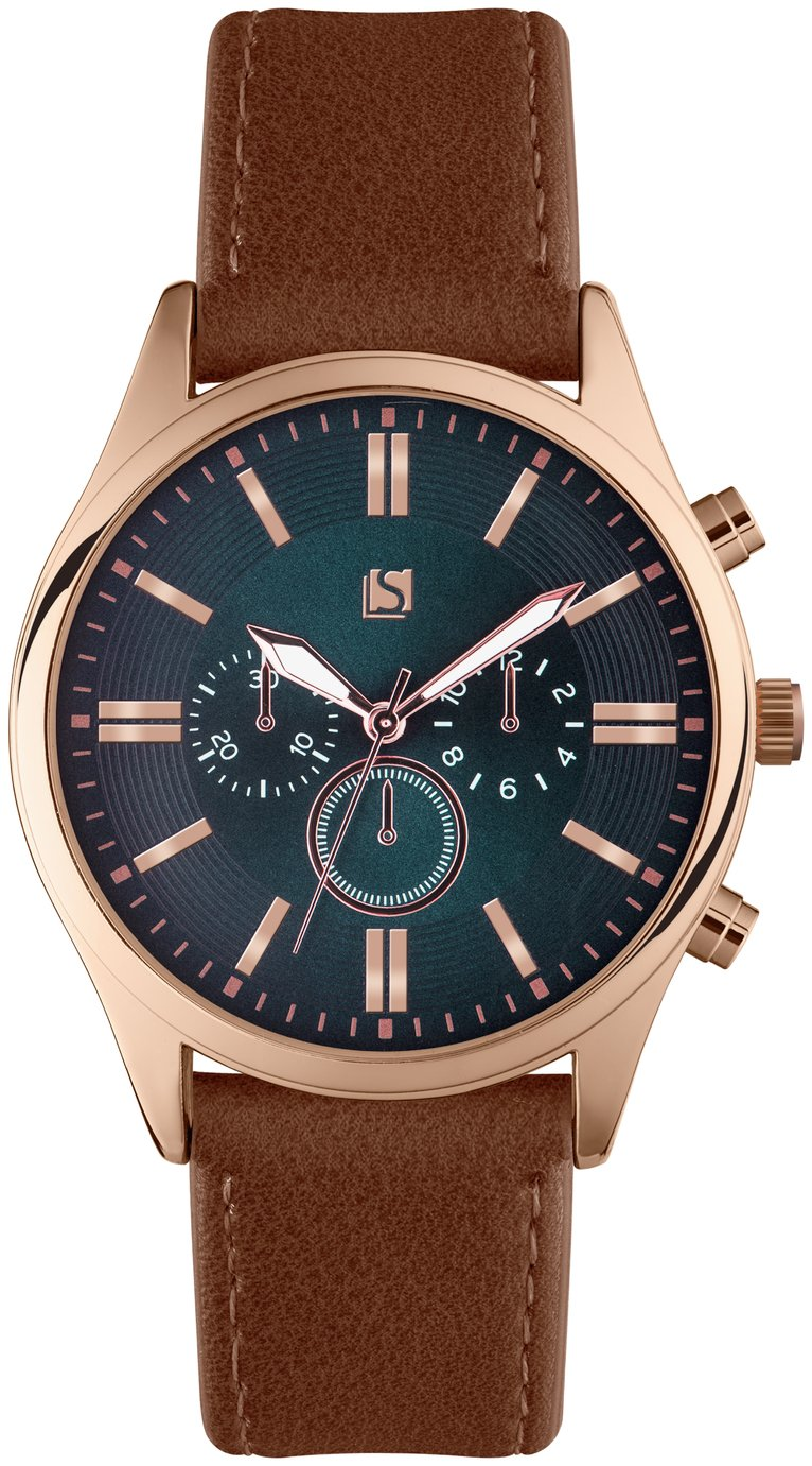 Spirit Men's Brown Faux Leather Strap Watch