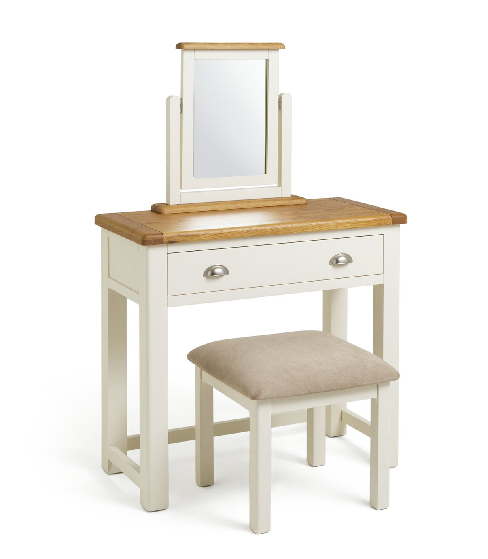 Argos Home Kent Dressing Table, Stool Mirror - Cream/Oak