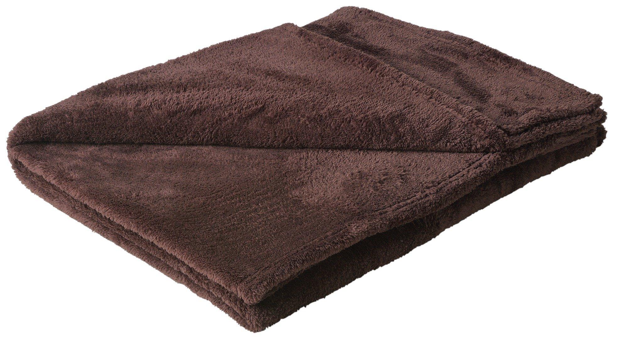 HOME Soft Fleece Throw - Chocolate