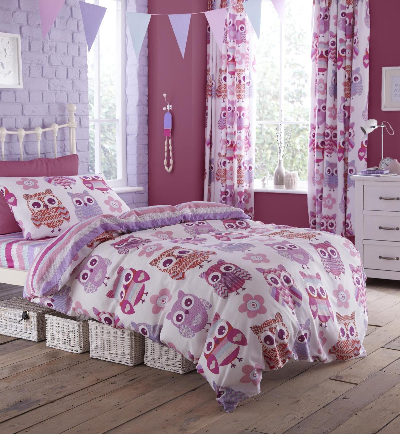 catherine lansfield owl duvet cover set  single.