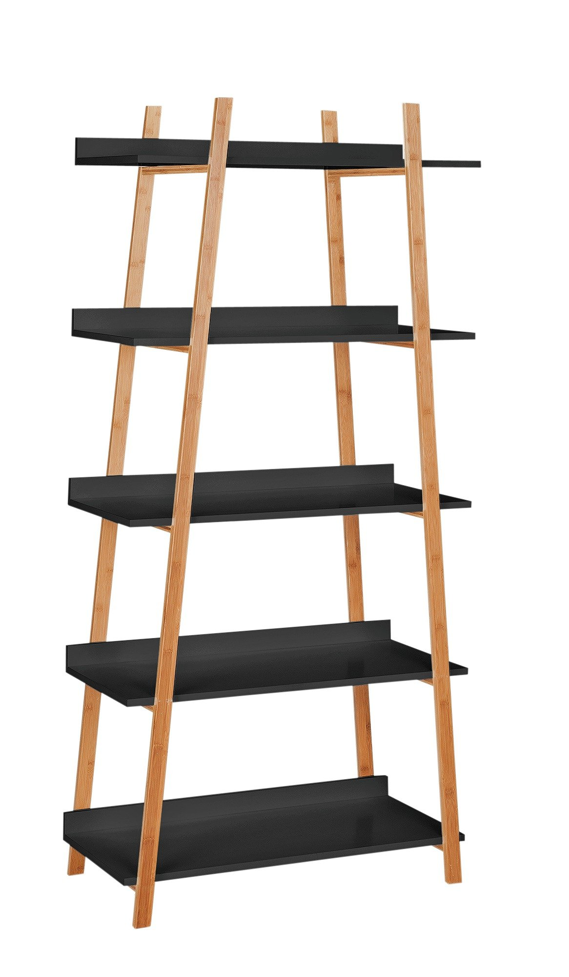 Hygena Skanda 5 Tier Bamboo Shelving Unit - Black