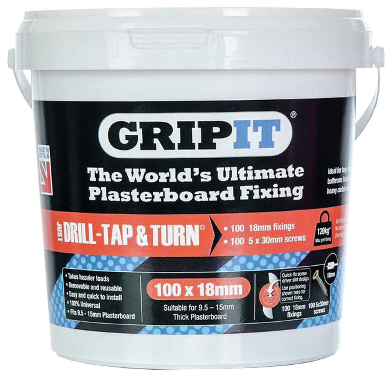 GripIt Fixings Tub Of 100 18mm - Red