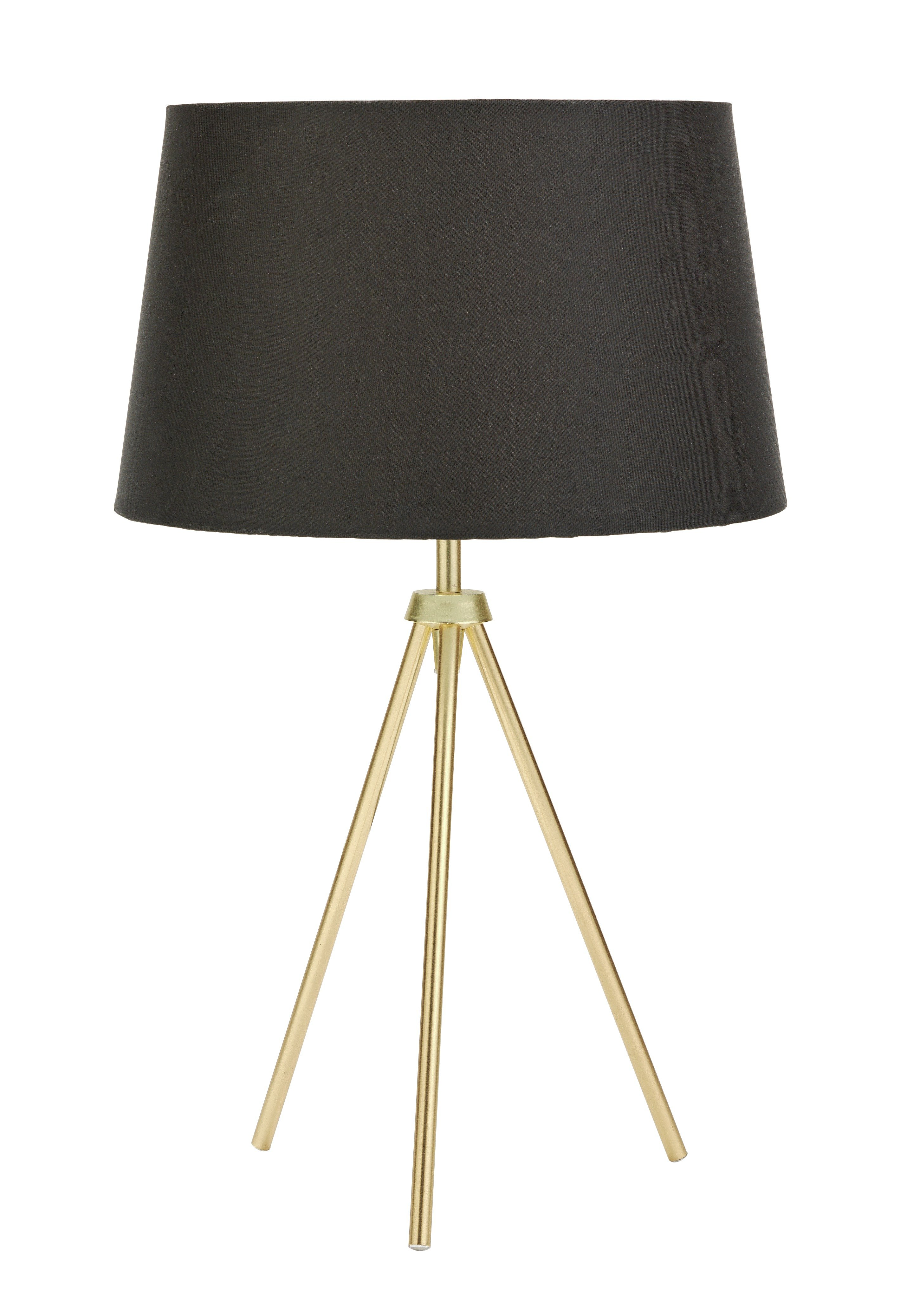 Collection trilby brushed brass tripod table lamp black for Cheap tripod lamp