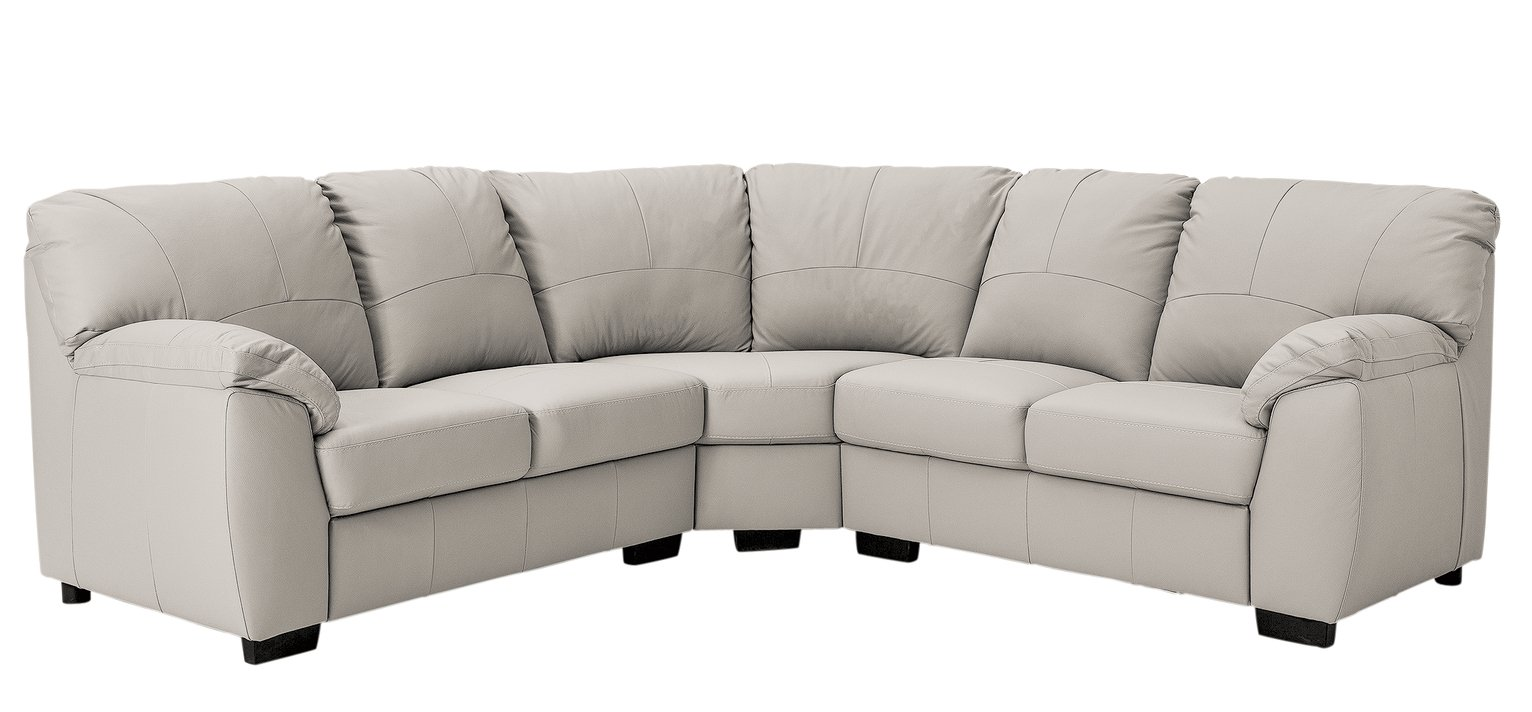 Argos Home Milano Corner Leather Sofa - Light Grey