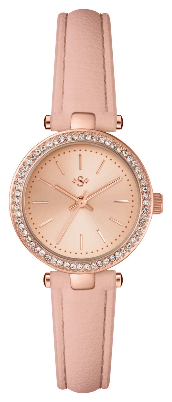 Spirit Ladies' Rose Colour Stone Set Nude Strap Watch