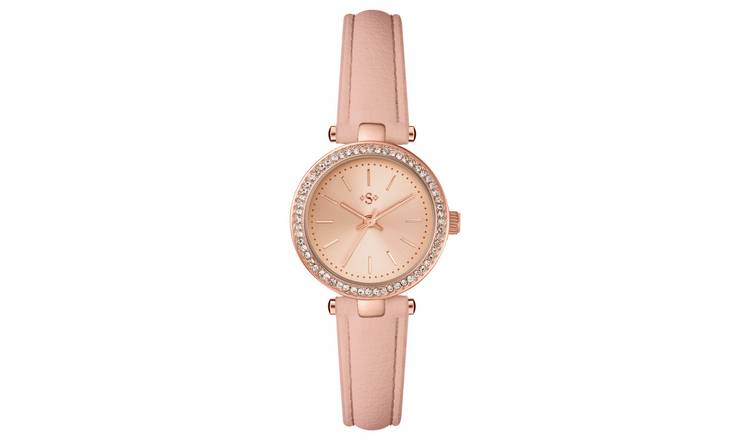 Spirit Ladies Rose Colour Stone Set Nude Strap Watch