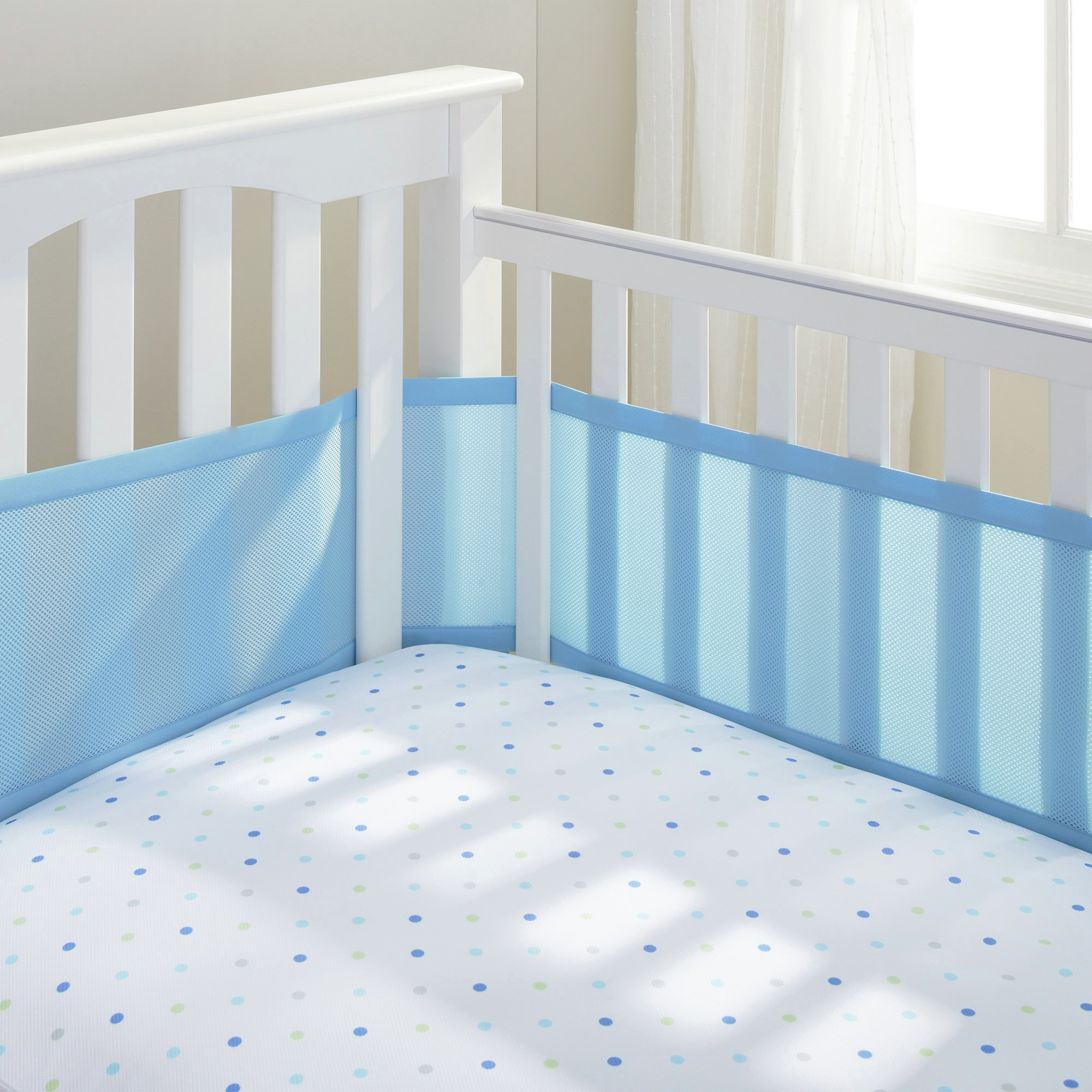 Image of BreathableBaby - 4 Sided - Cot Liner - Blue Mist