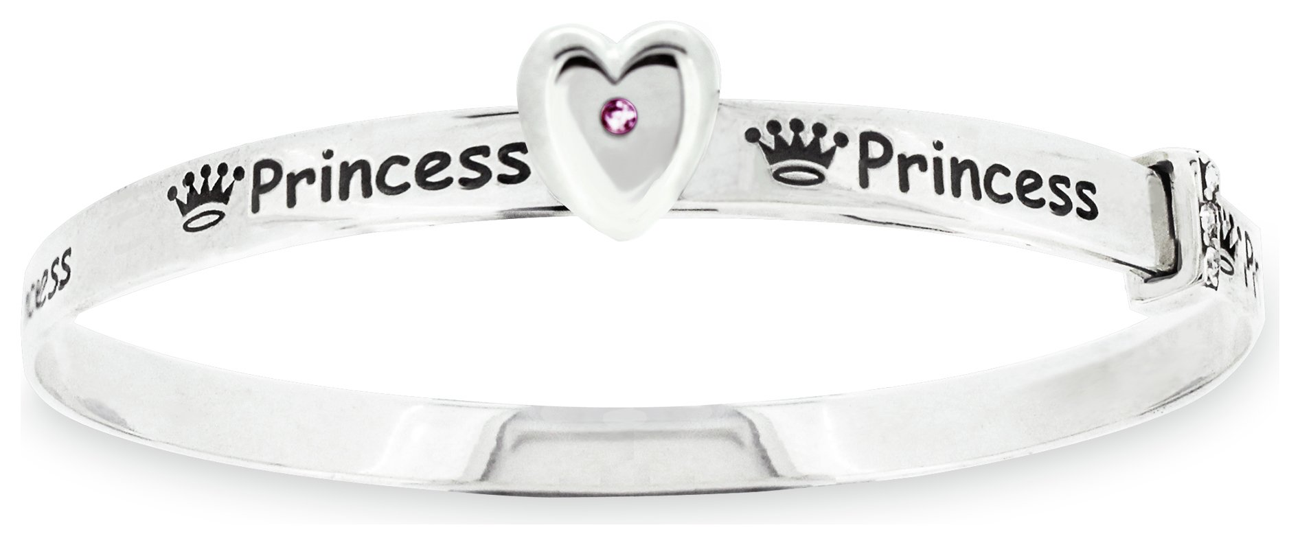 Revere Kid's Sterling Silver Princess CZ Bangle - 3-5 Years