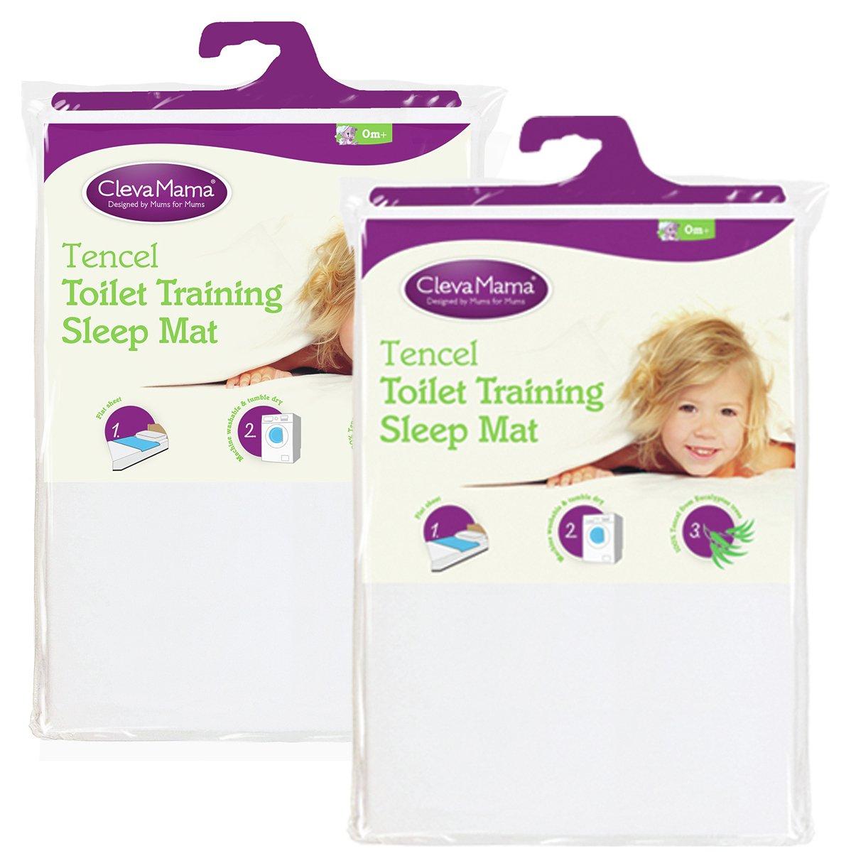Image of Clevamama - 2 Pack Tencel Toilet Training Mat - White