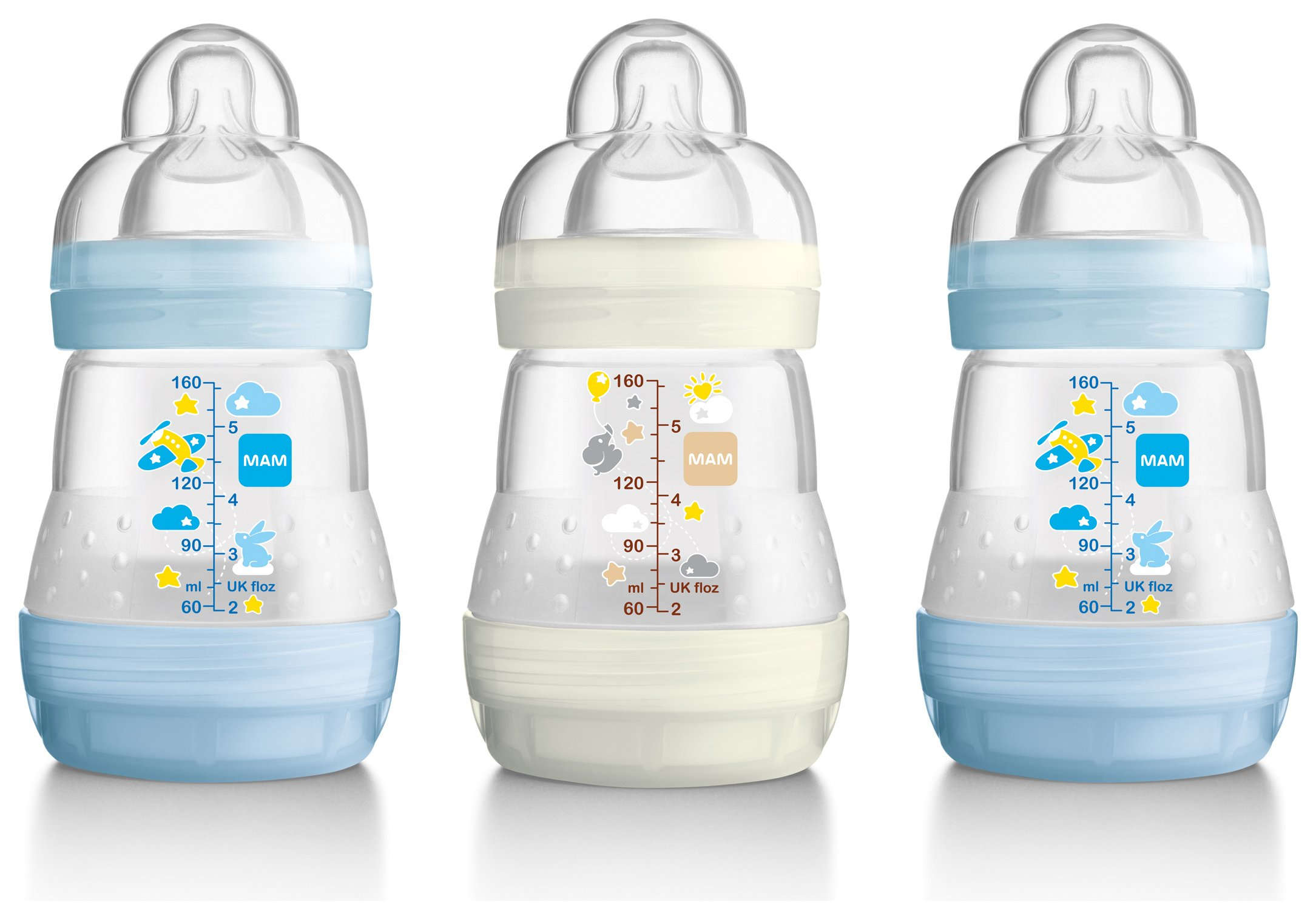 Image of MAM - Anti-Colic160ml Bottle 3 Pack - Blue and Green