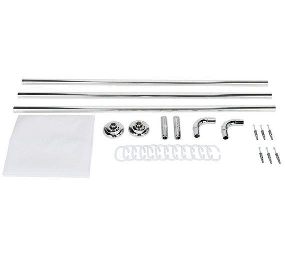 Buy Croydex Modular Aluminium Shower Curtain & Rail Set - Chrome ...