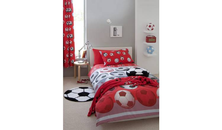 Catherine Lansfield Football Curtains - 165cmx180cm - Red