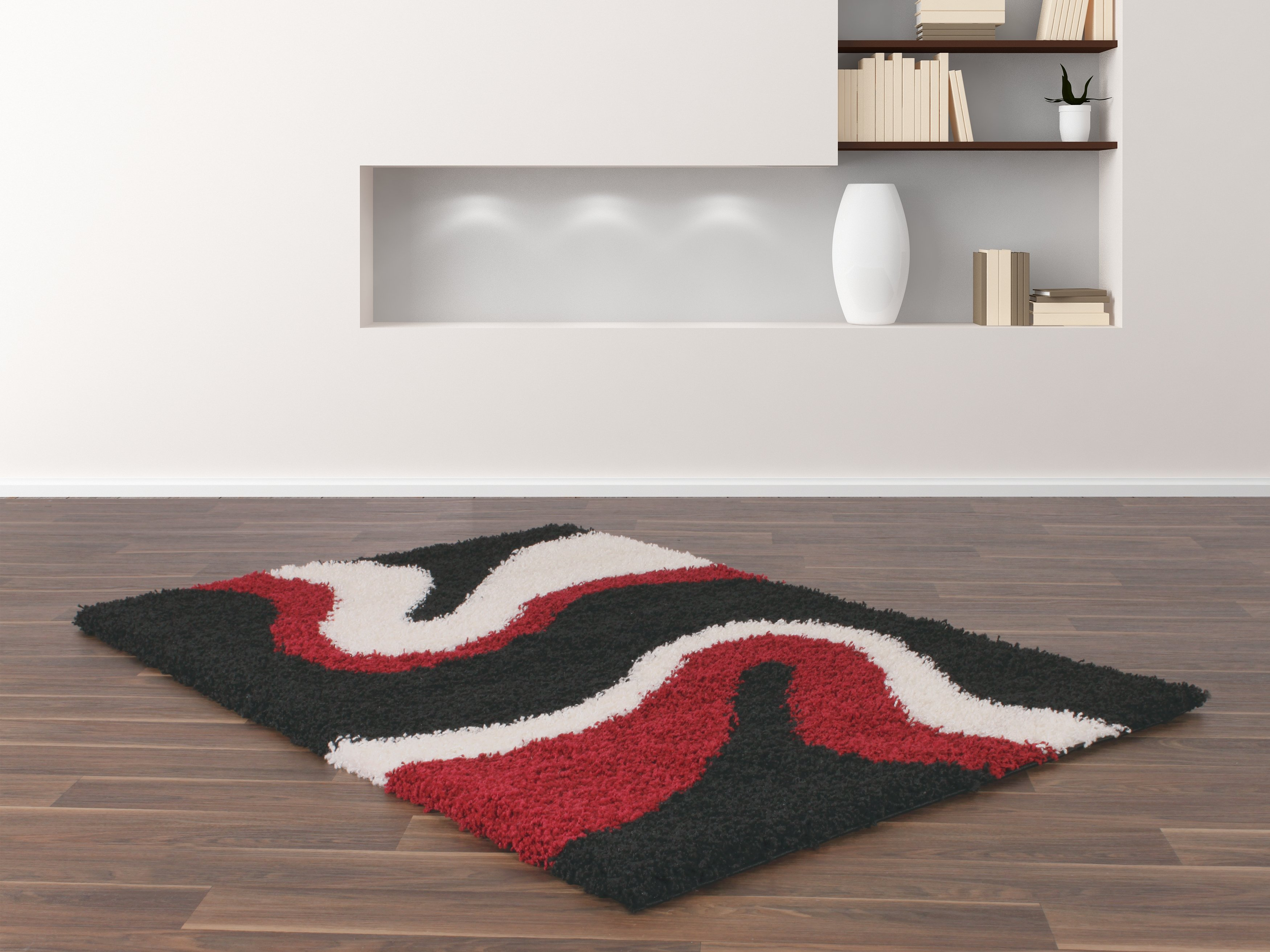 Sienna Ripple Rug - 80 x 150cm - Red and Black.