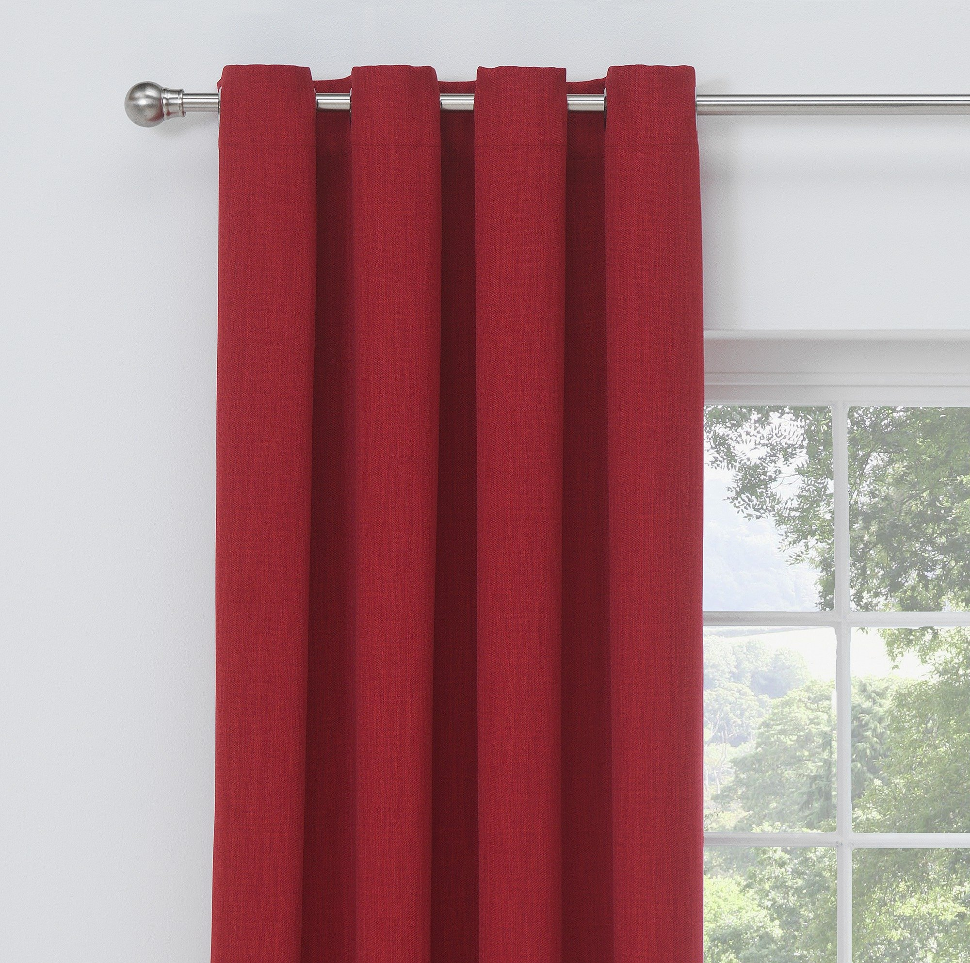 Collection Linen Look Blackout Curtains - 168x183cm - Red
