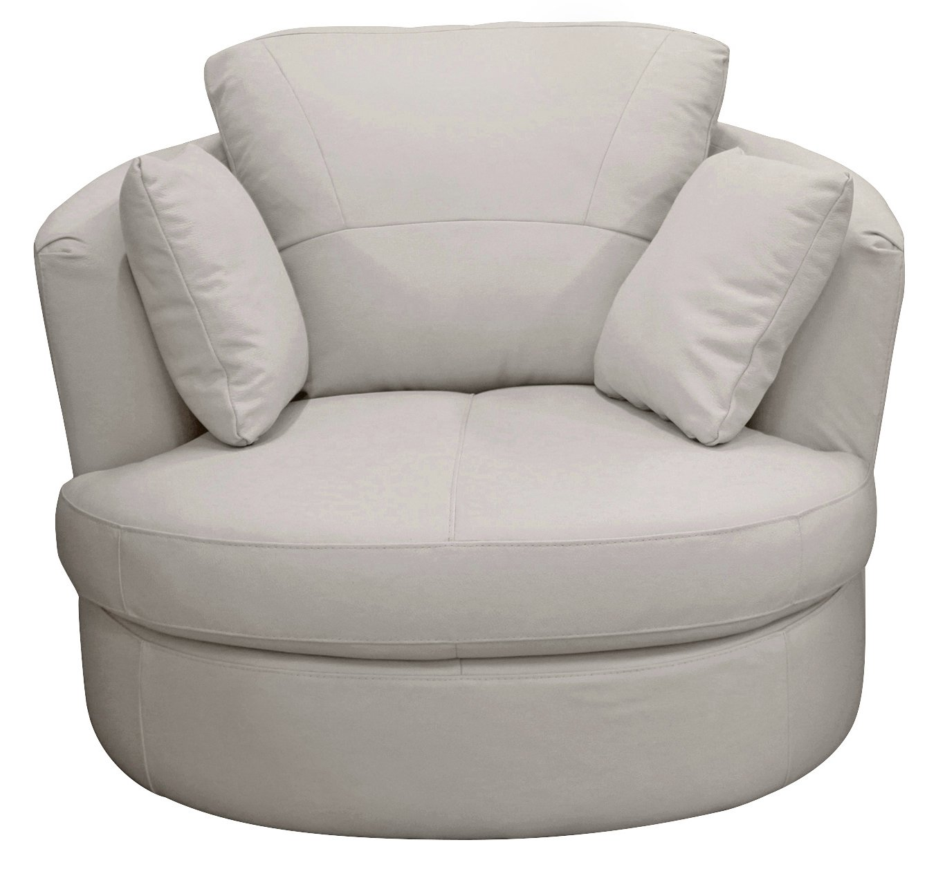 Argos Home Milano Leather Swivel Chair - Light Grey