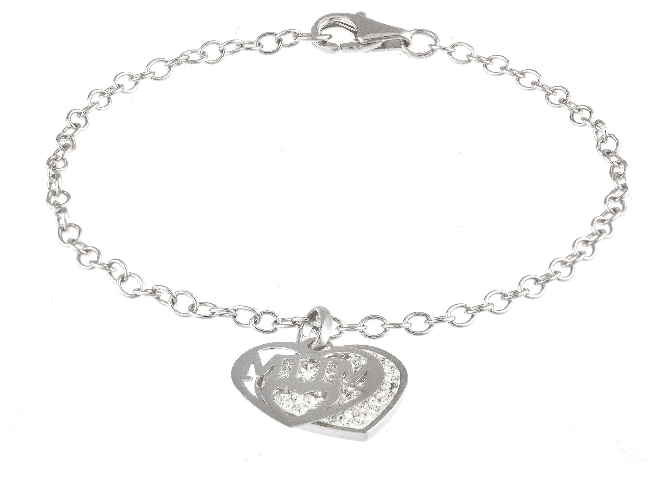 Moon & Back Silver 'Mum' Crystal Double Heart Bracelet