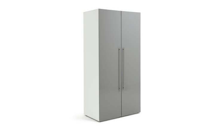 Habitat Atlas 2 Door Wardrobe - Grey Gloss