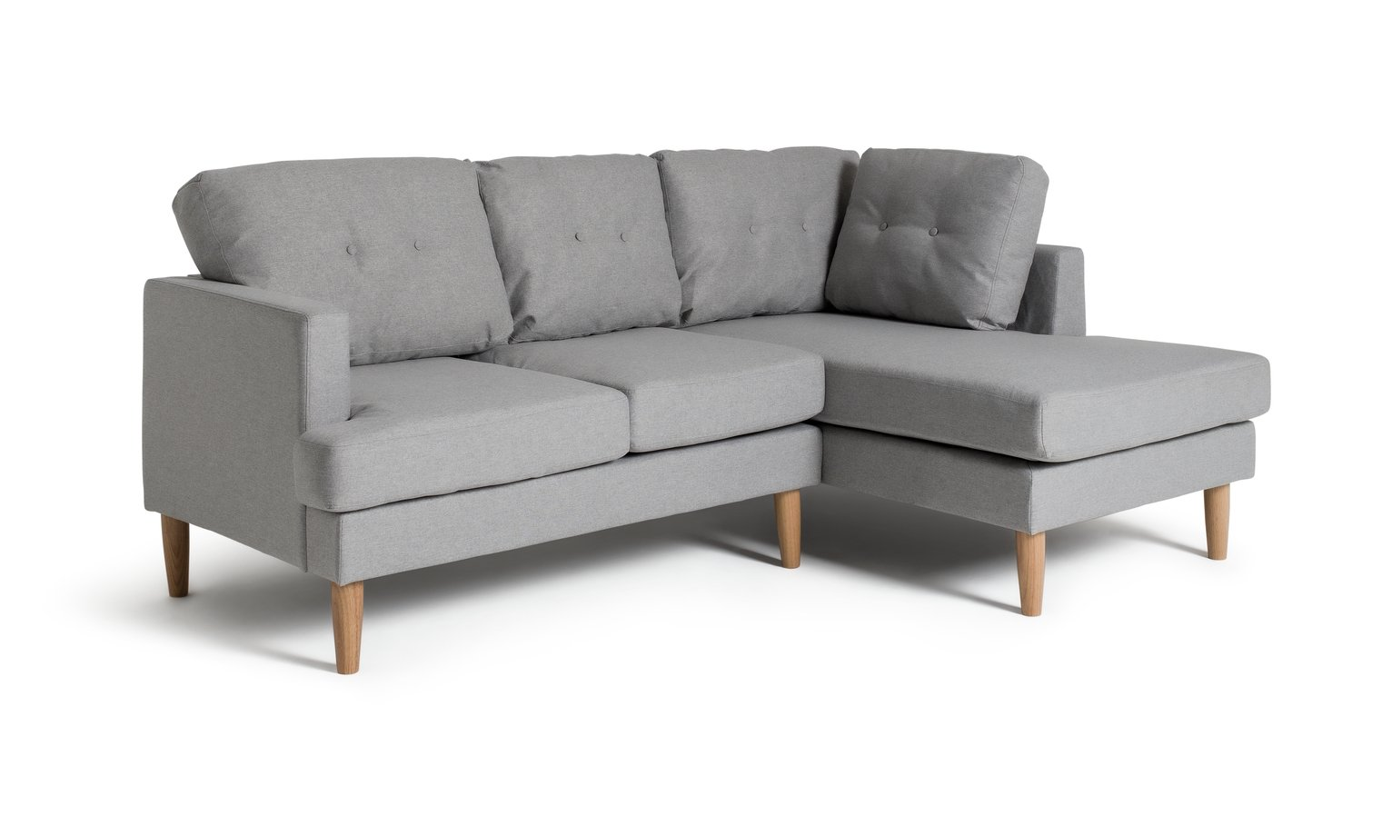 Habitat Joshua Right Corner Fabric Sofa - Light Grey