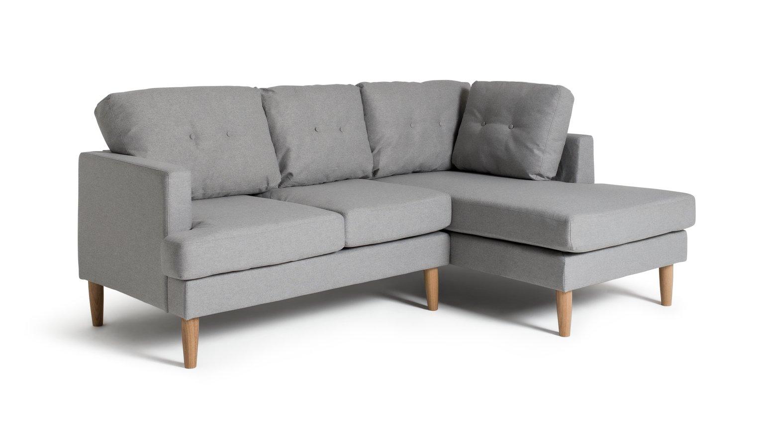 'Home - Joshua - Fabric Right Hand Corner Sofa - Light Grey