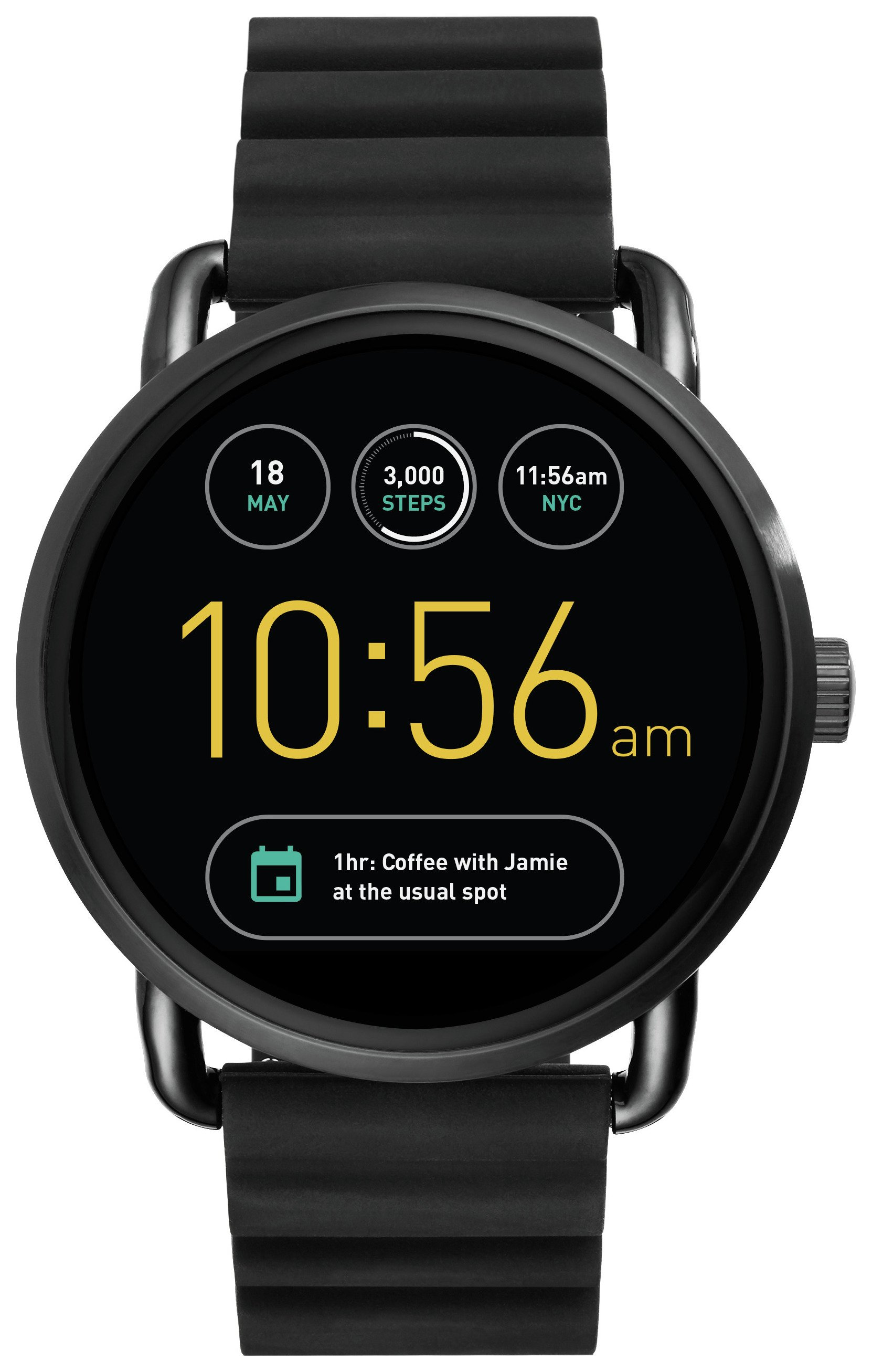 Image of Fossil - Q Wander Black Silicone Strap Smart - Watch