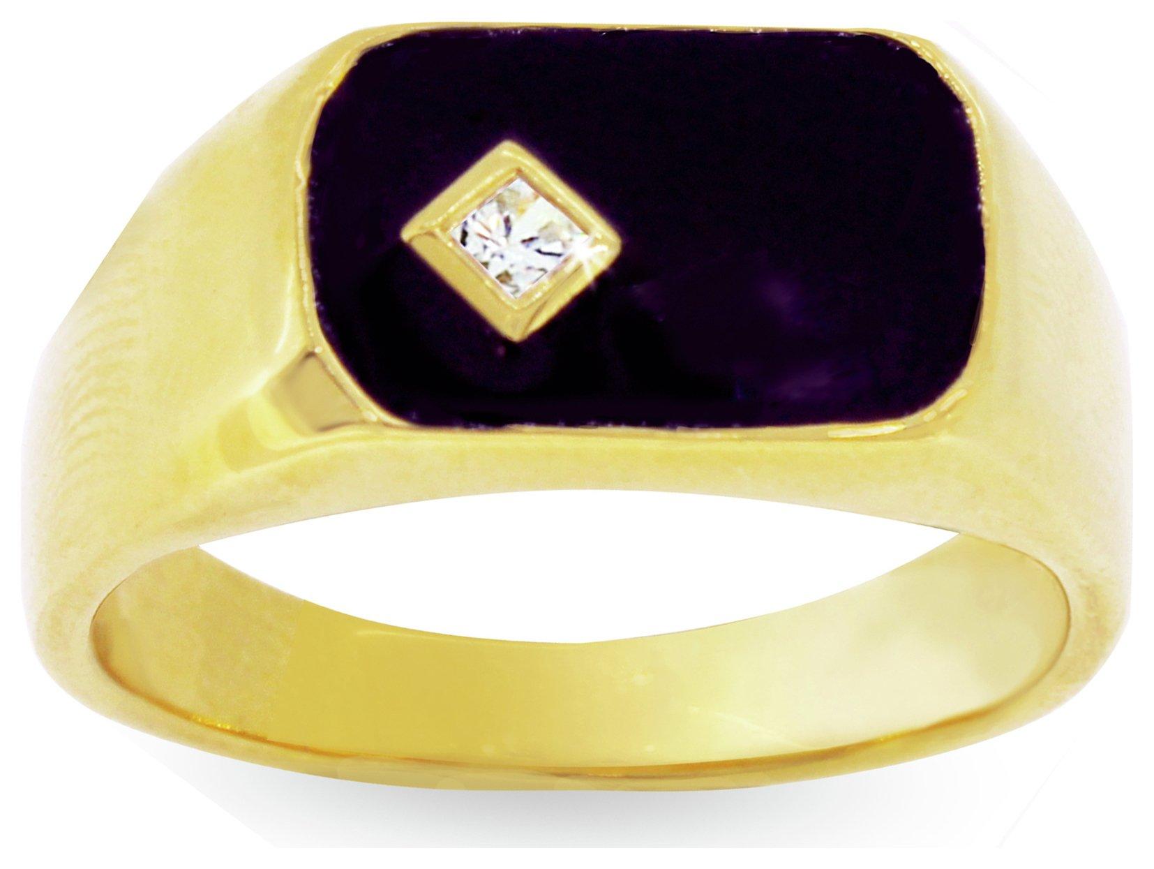 Image of Revere Men's 9ct Gold Plated Silver Black Enamel CZ Ring