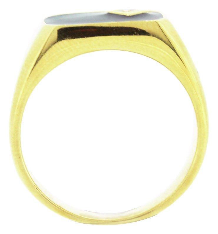 Buy Revere Men s 9ct Gold Plated Silver Black Enamel CZ Ring at