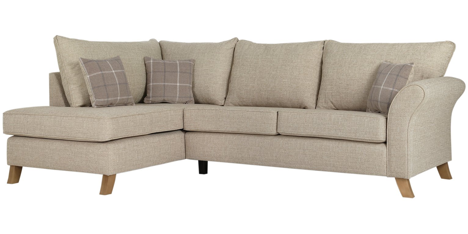 Argos Home Kayla Left Corner Fabric Sofa - Beige
