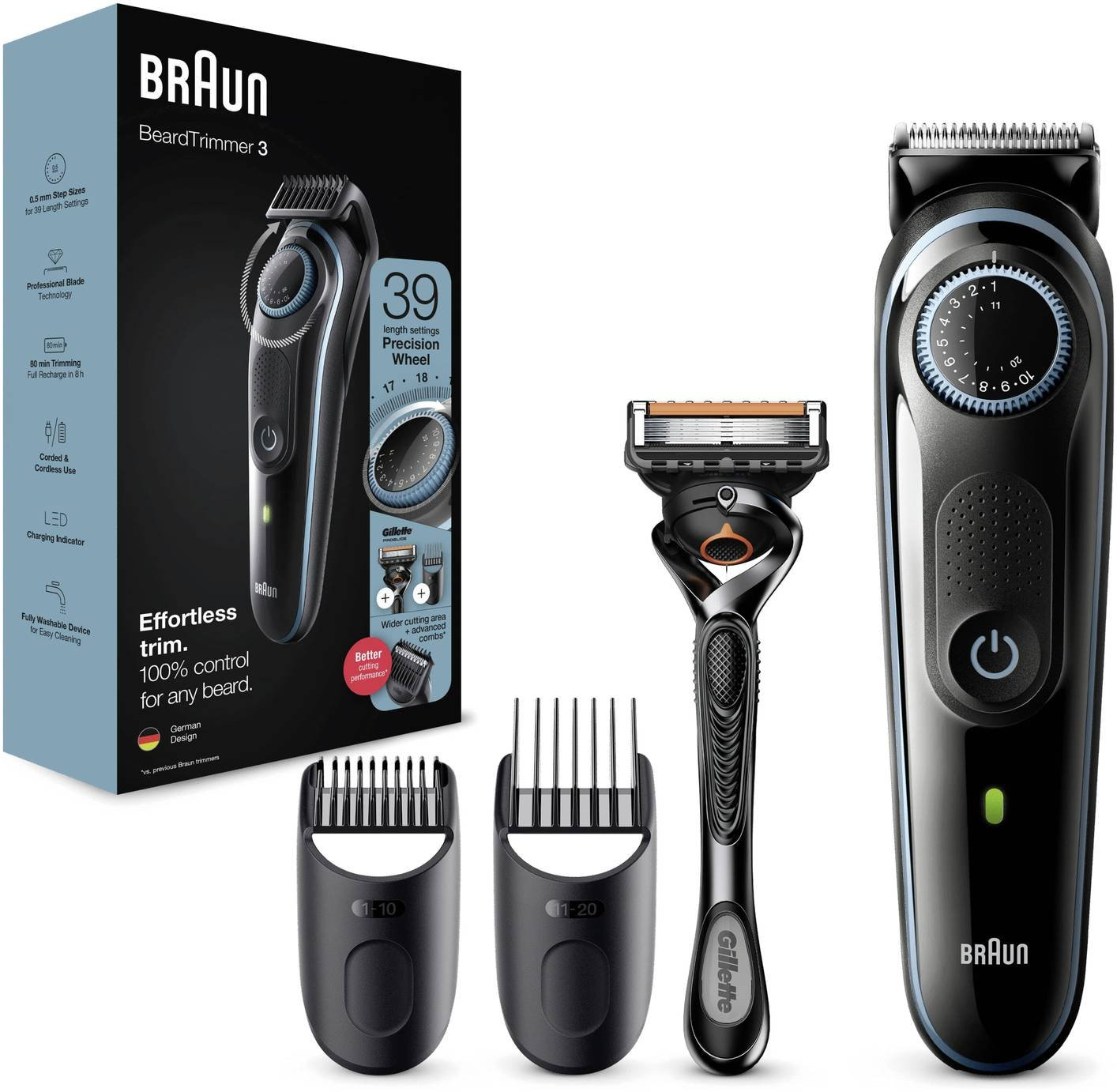 Braun Beard Trimmer with Gillette Razor BT3040