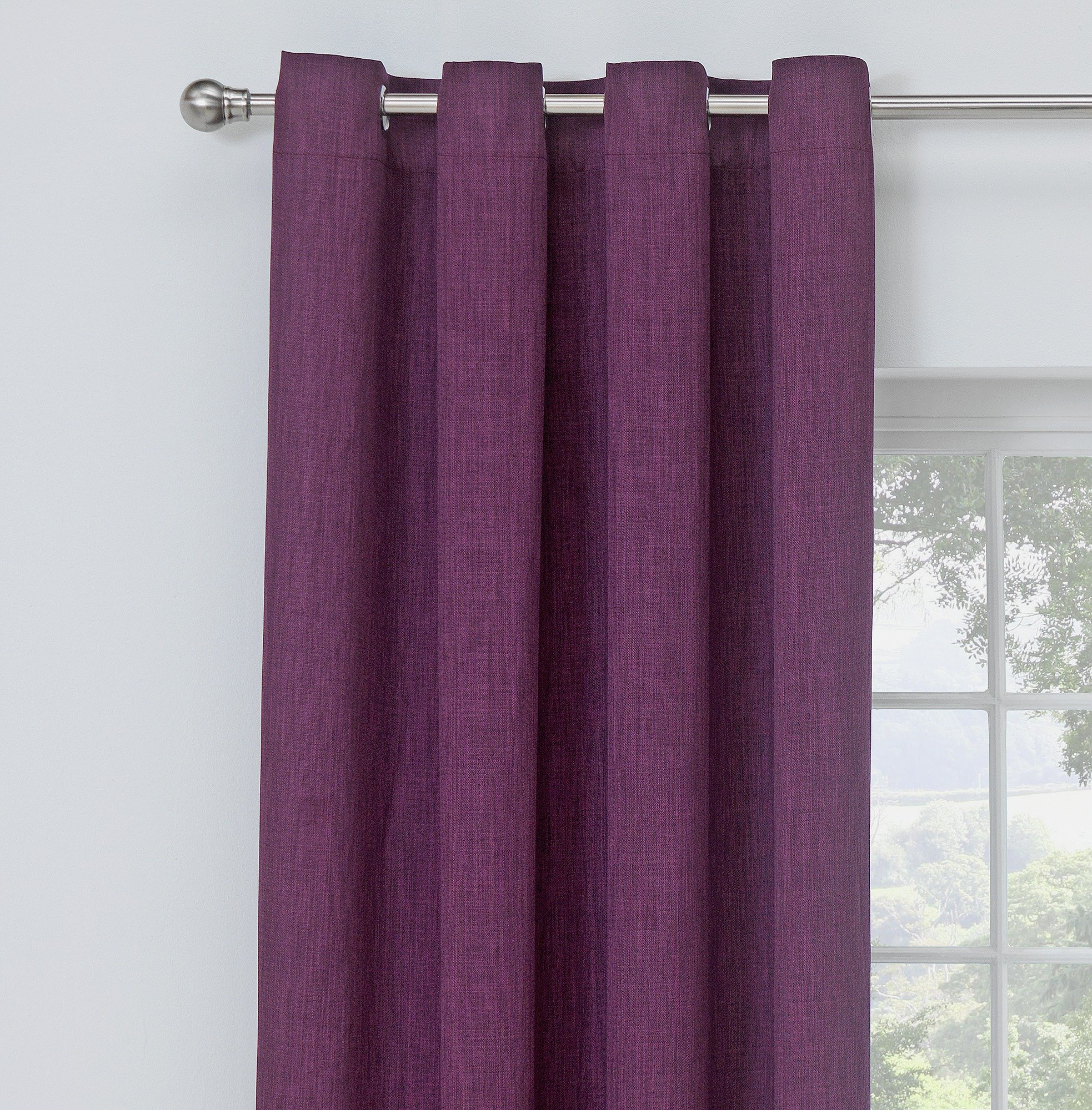 Collection Linen Look Blackout Curtains - 168x183cm - Plum