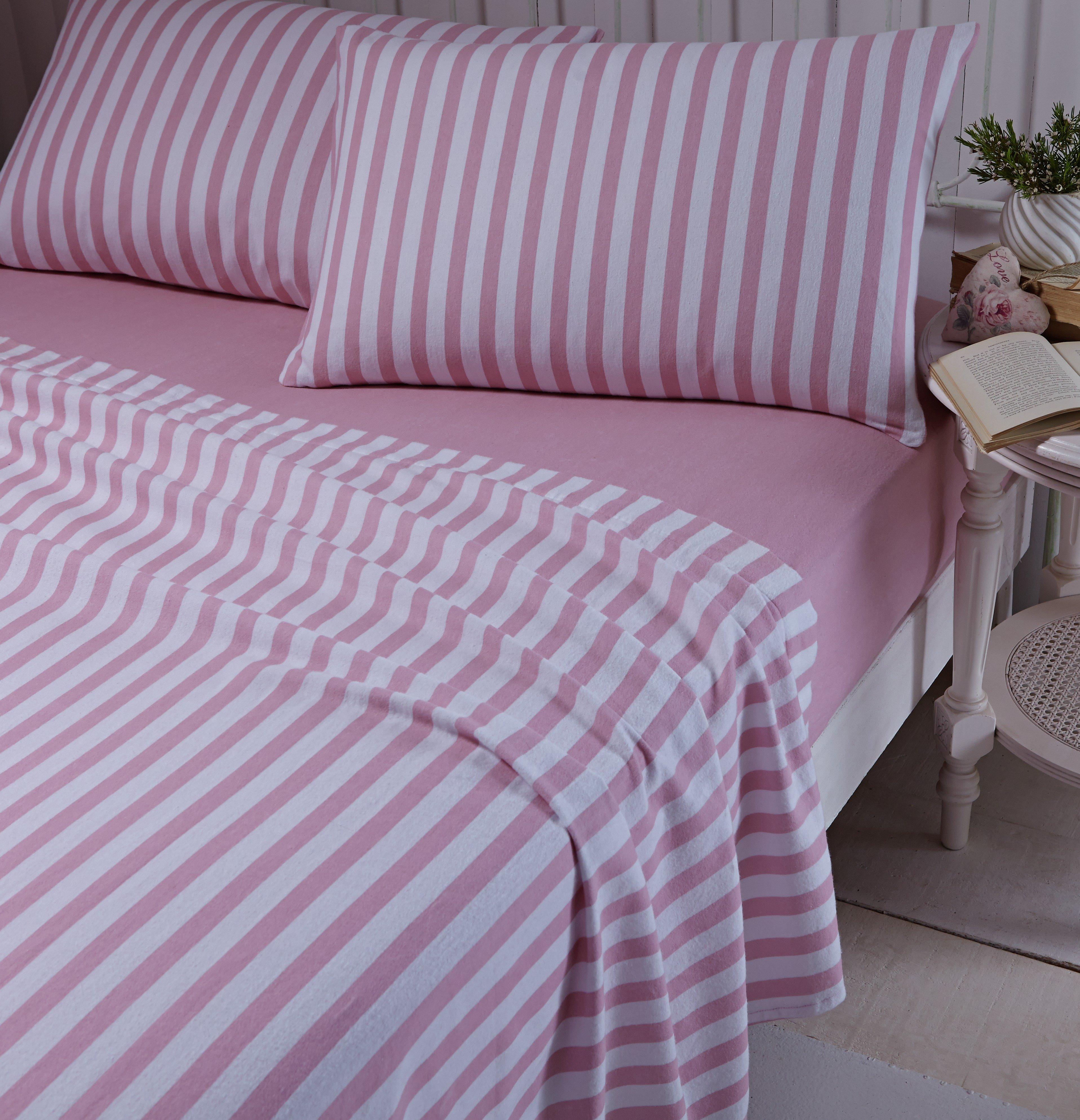 catherine lansfield pink brushed stripe sheet set  single.